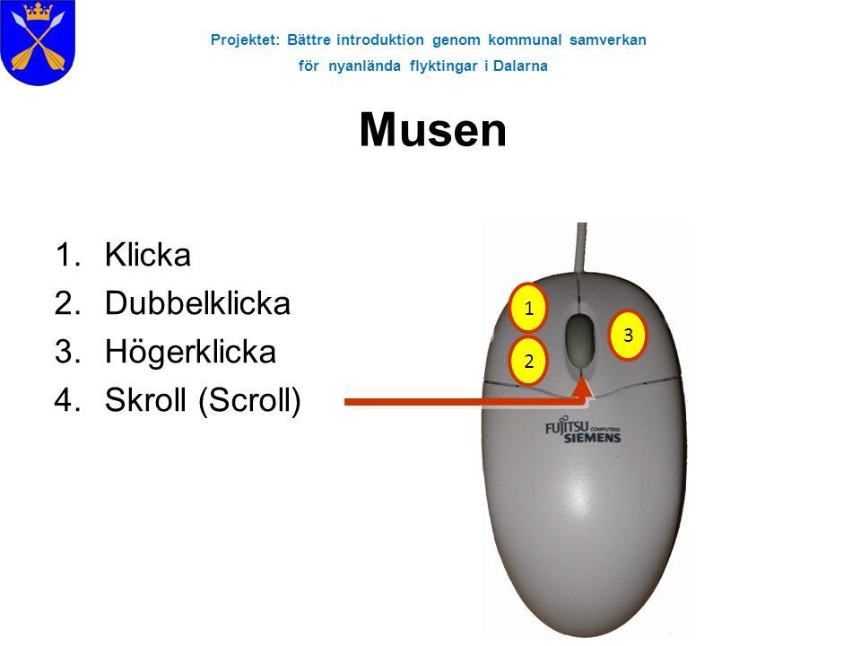Projektet: Bättre introduktion genom kommunal samverkan för nyanlända flyktingar i Dalarna Musen 1.Klicka 2.Dubbelklicka 3.Högerklicka 4.Skroll (Scrol