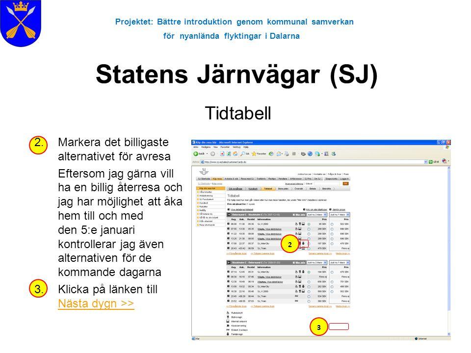 Projektet: Bättre introduktion genom kommunal samverkan för nyanlända flyktingar i Dalarna Statens Järnvägar (SJ) Tidtabell 2.Markera det billigaste a