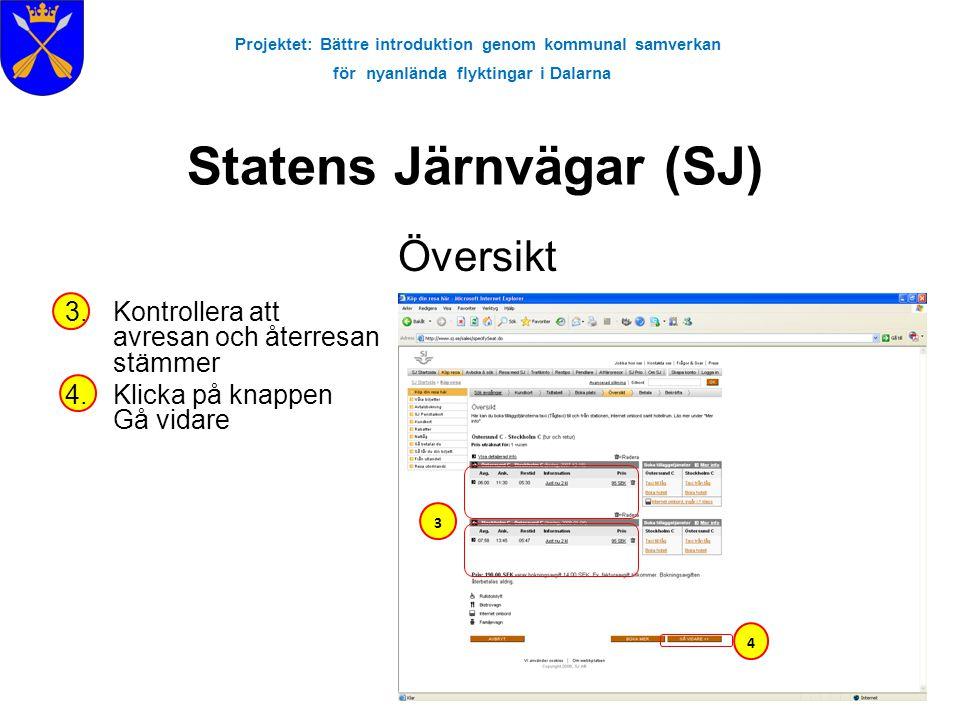 Projektet: Bättre introduktion genom kommunal samverkan för nyanlända flyktingar i Dalarna Statens Järnvägar (SJ) Översikt 3.Kontrollera att avresan o