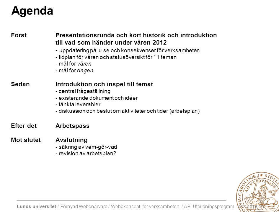 Lunds universitet / Förnyad Webbnärvaro / Webbkoncept för verksamheten / AP: Utbildningsprogram - presentation Agenda FörstPresentationsrunda och kort historik och introduktion till vad som händer under våren 2012 - uppdatering på lu.se och konsekvenser för verksamheten - tidplan för våren och statusöversikt för 11 teman - mål för våren - mål för dagen SedanIntroduktion och inspel till temat - central frågeställning - existerande dokument och idéer - tänkta leverabler - diskussion och beslut om aktiviteter och tider (arbetsplan) Efter detArbetspass Mot slutetAvslutning - säkring av vem-gör-vad - revision av arbetsplan