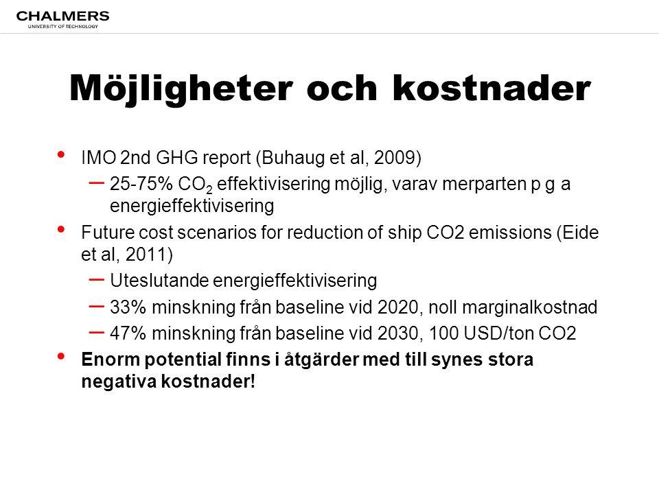 Möjligheter och kostnader • IMO 2nd GHG report (Buhaug et al, 2009) – 25-75% CO 2 effektivisering möjlig, varav merparten p g a energieffektivisering