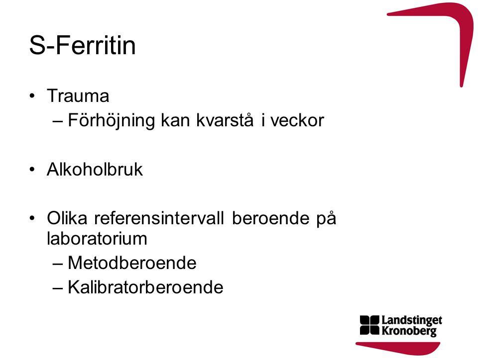 S-Ferritin •Trauma –Förhöjning kan kvarstå i veckor •Alkoholbruk •Olika referensintervall beroende på laboratorium –Metodberoende –Kalibratorberoende