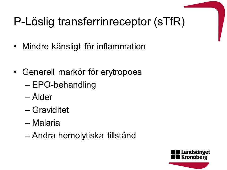 P-Löslig transferrinreceptor (sTfR) •Mindre känsligt för inflammation •Generell markör för erytropoes –EPO-behandling –Ålder –Graviditet –Malaria –And