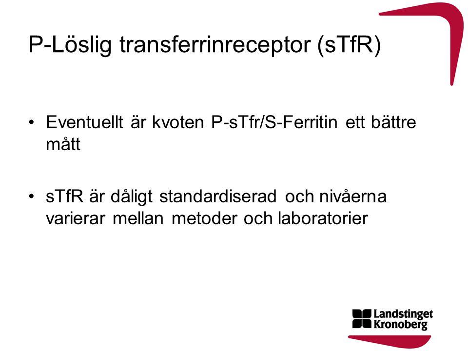 P-Löslig transferrinreceptor (sTfR) •Eventuellt är kvoten P-sTfr/S-Ferritin ett bättre mått •sTfR är dåligt standardiserad och nivåerna varierar mella