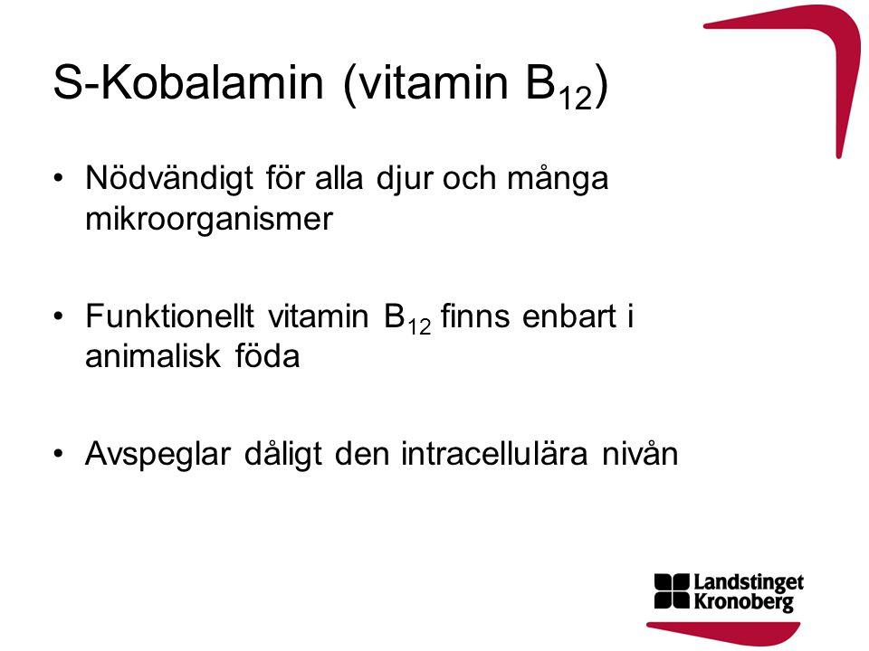 S-Kobalamin (vitamin B 12 ) •Nödvändigt för alla djur och många mikroorganismer •Funktionellt vitamin B 12 finns enbart i animalisk föda •Avspeglar då