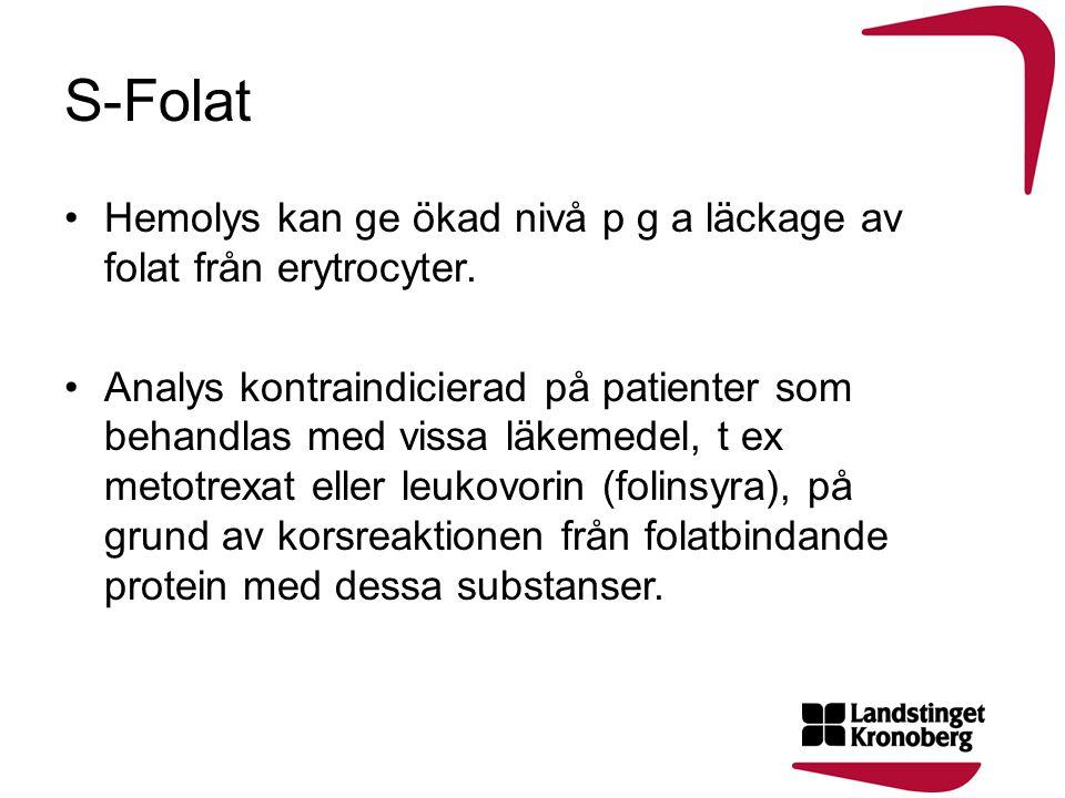 S-Folat •Hemolys kan ge ökad nivå p g a läckage av folat från erytrocyter. •Analys kontraindicierad på patienter som behandlas med vissa läkemedel, t