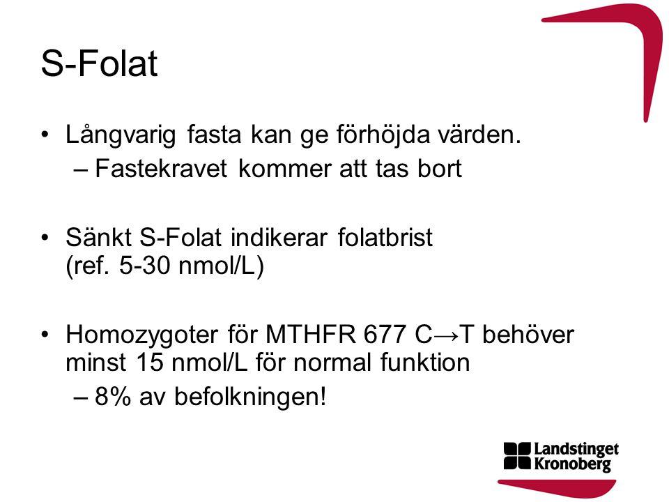 S-Folat •Långvarig fasta kan ge förhöjda värden. –Fastekravet kommer att tas bort •Sänkt S-Folat indikerar folatbrist (ref. 5-30 nmol/L) •Homozygoter