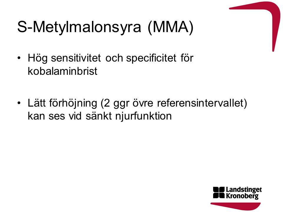 S-Metylmalonsyra (MMA) •Hög sensitivitet och specificitet för kobalaminbrist •Lätt förhöjning (2 ggr övre referensintervallet) kan ses vid sänkt njurf