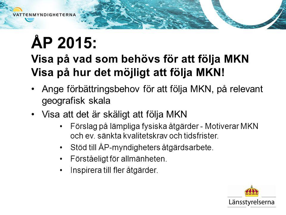 ÅP 2015: Visa på vad som behövs för att följa MKN Visa på hur det möjligt att följa MKN.