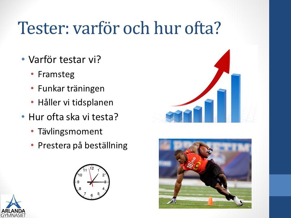 Tester: varför och hur ofta? • Varför testar vi? • Framsteg • Funkar träningen • Håller vi tidsplanen • Hur ofta ska vi testa? • Tävlingsmoment • Pres