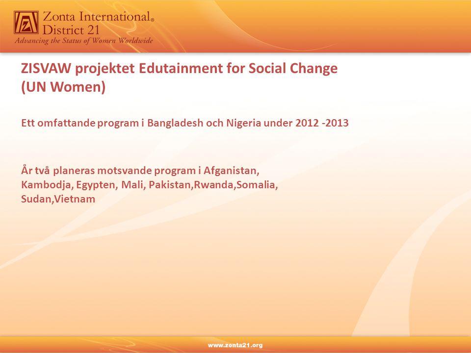 ZISVAW projektet Edutainment for Social Change (UN Women) Ett omfattande program i Bangladesh och Nigeria under 2012 -2013 År två planeras motsvande program i Afganistan, Kambodja, Egypten, Mali, Pakistan,Rwanda,Somalia, Sudan,Vietnam