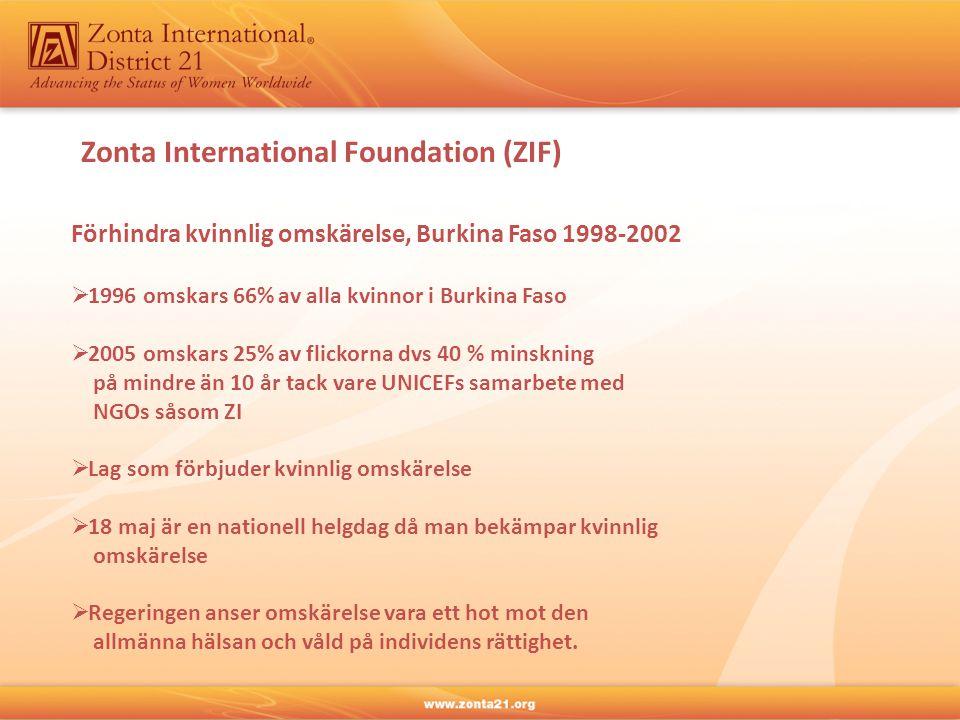Zonta International Foundation (ZIF) Förhindra kvinnlig omskärelse, Burkina Faso 1998-2002  1996 omskars 66% av alla kvinnor i Burkina Faso  2005 omskars 25% av flickorna dvs 40 % minskning på mindre än 10 år tack vare UNICEFs samarbete med NGOs såsom ZI  Lag som förbjuder kvinnlig omskärelse  18 maj är en nationell helgdag då man bekämpar kvinnlig omskärelse  Regeringen anser omskärelse vara ett hot mot den allmänna hälsan och våld på individens rättighet.