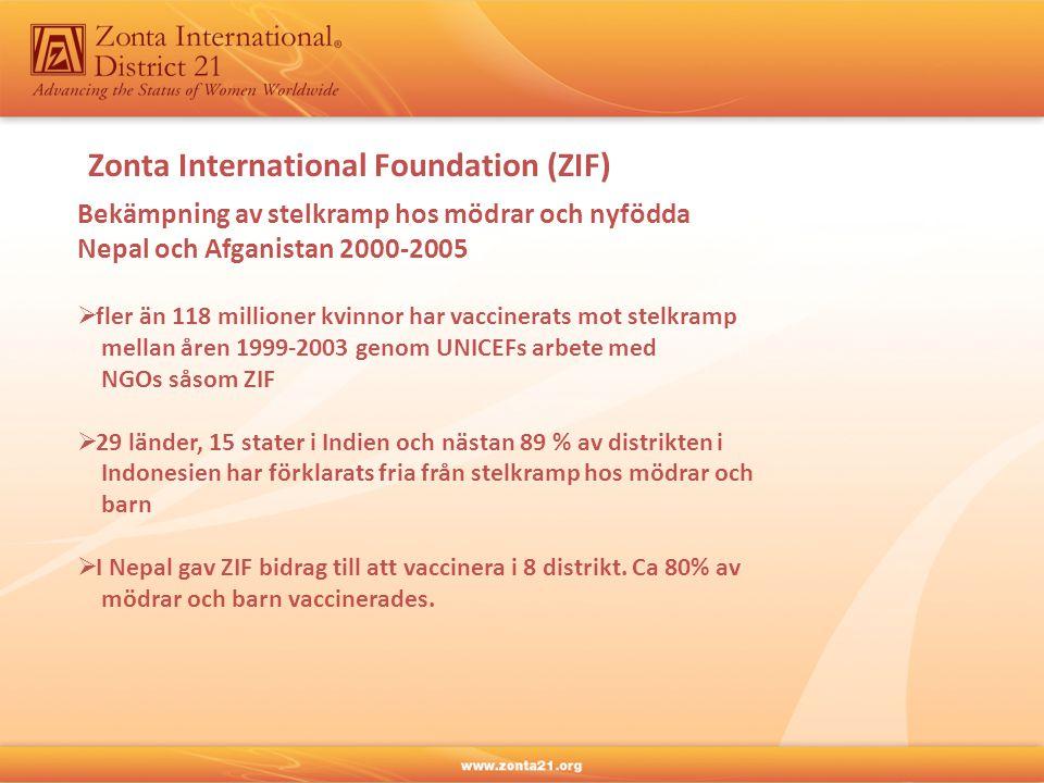 Zonta International Foundation (ZIF) Bekämpning av stelkramp hos mödrar och nyfödda Nepal och Afganistan 2000-2005  fler än 118 millioner kvinnor har vaccinerats mot stelkramp mellan åren 1999-2003 genom UNICEFs arbete med NGOs såsom ZIF  29 länder, 15 stater i Indien och nästan 89 % av distrikten i Indonesien har förklarats fria från stelkramp hos mödrar och barn  I Nepal gav ZIF bidrag till att vaccinera i 8 distrikt.