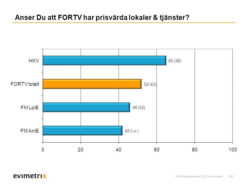 Fortifikationsverket 2011 (slutversion)100 Anser Du att FORTV har prisvärda lokaler & tjänster?
