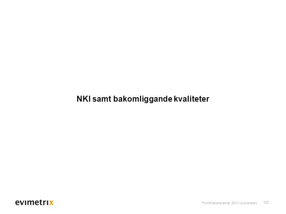 Fortifikationsverket 2011 (slutversion) 102 NKI samt bakomliggande kvaliteter