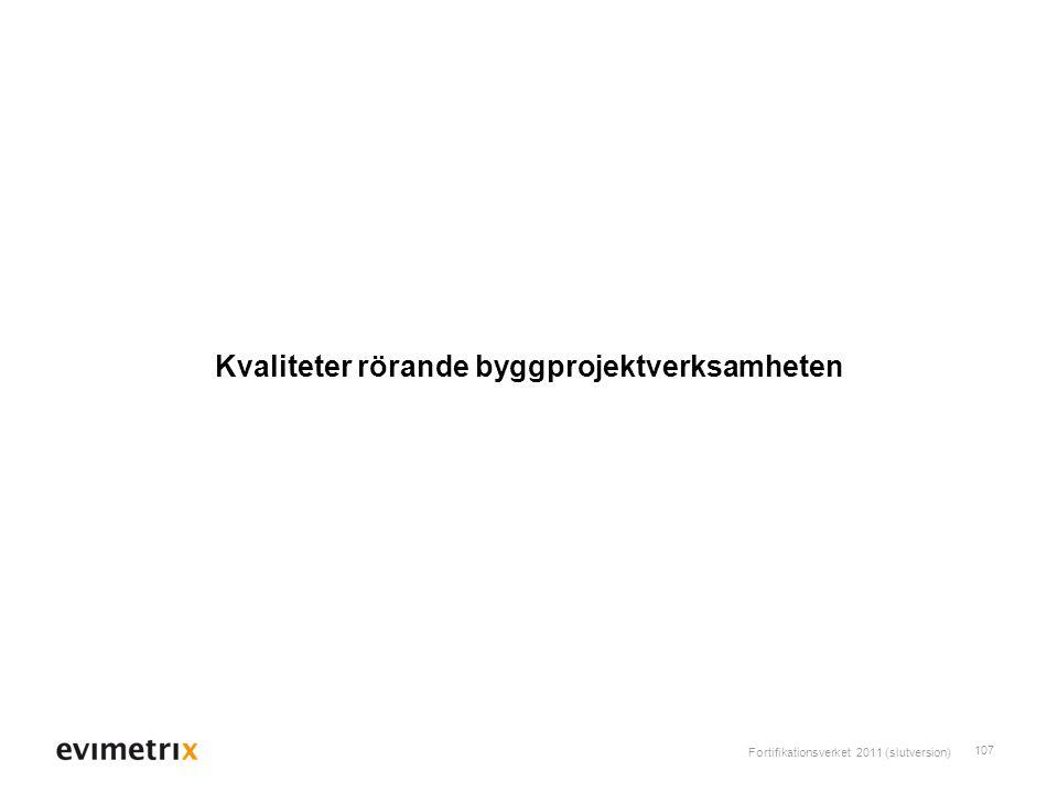 Fortifikationsverket 2011 (slutversion) 107 Kvaliteter rörande byggprojektverksamheten