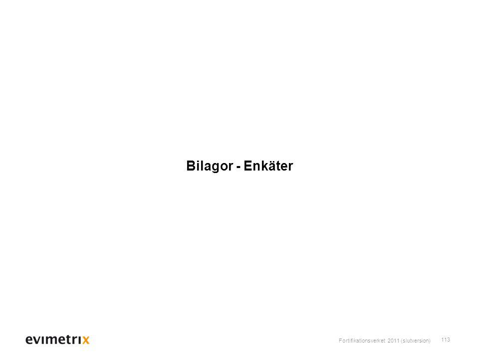 Fortifikationsverket 2011 (slutversion) 113 Bilagor - Enkäter