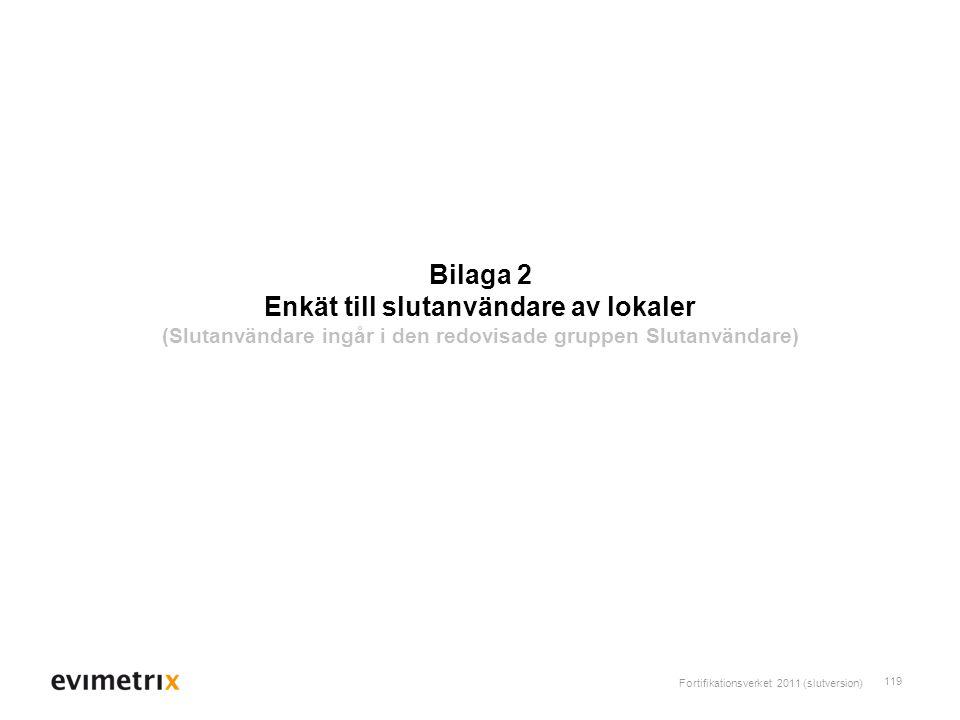 Fortifikationsverket 2011 (slutversion) 119 Bilaga 2 Enkät till slutanvändare av lokaler (Slutanvändare ingår i den redovisade gruppen Slutanvändare)