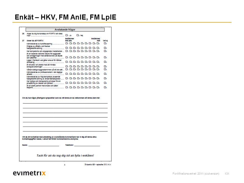 Fortifikationsverket 2011 (slutversion)131 Enkät – HKV, FM AnlE, FM LplE