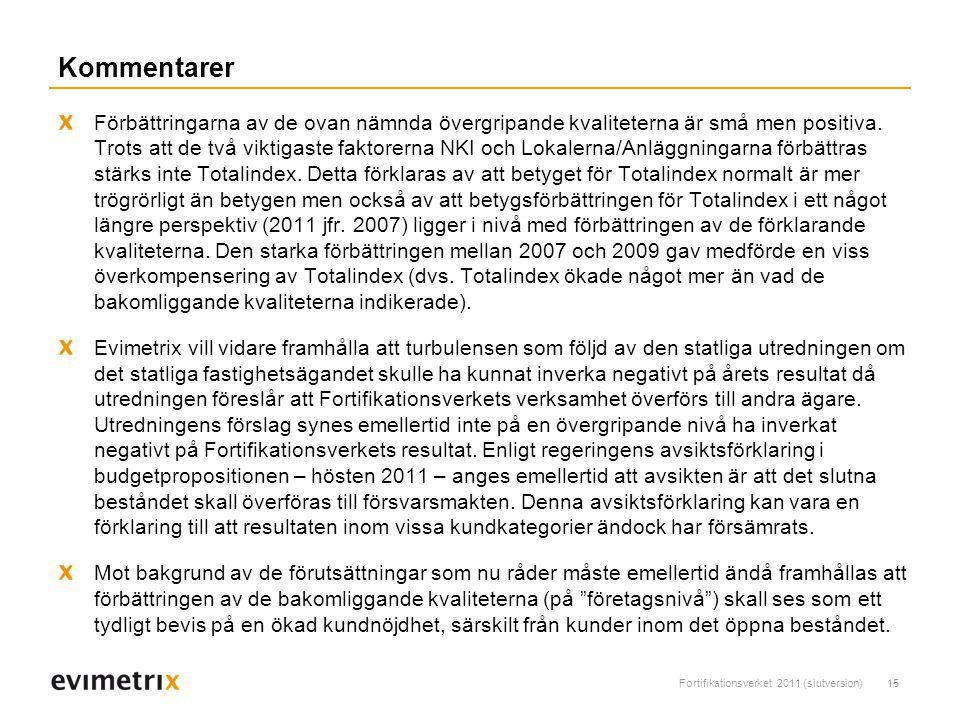 Fortifikationsverket 2011 (slutversion)15 Kommentarer Förbättringarna av de ovan nämnda övergripande kvaliteterna är små men positiva.