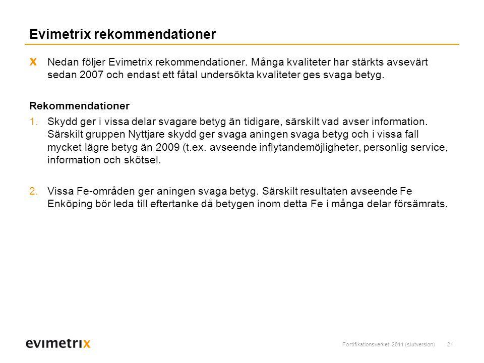 Fortifikationsverket 2011 (slutversion)21 Evimetrix rekommendationer Nedan följer Evimetrix rekommendationer.
