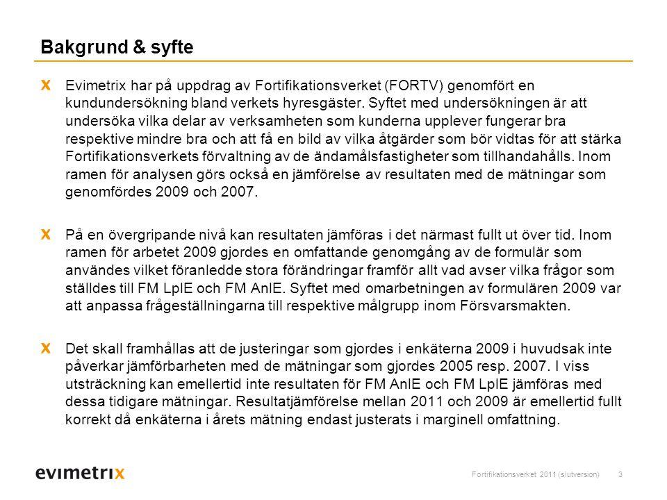 Fortifikationsverket 2011 (slutversion)3 Bakgrund & syfte Evimetrix har på uppdrag av Fortifikationsverket (FORTV) genomfört en kundundersökning bland verkets hyresgäster.