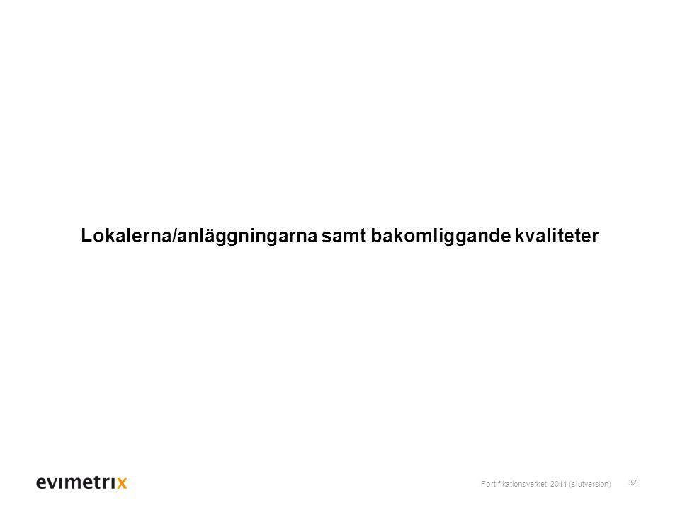 Fortifikationsverket 2011 (slutversion) 32 Lokalerna/anläggningarna samt bakomliggande kvaliteter