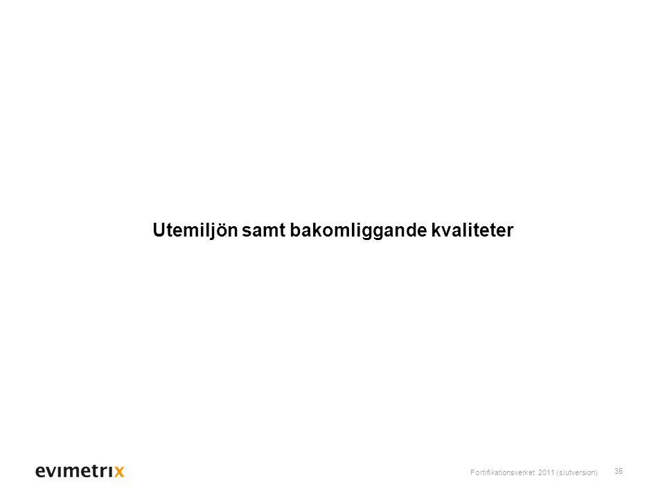 Fortifikationsverket 2011 (slutversion) 35 Utemiljön samt bakomliggande kvaliteter