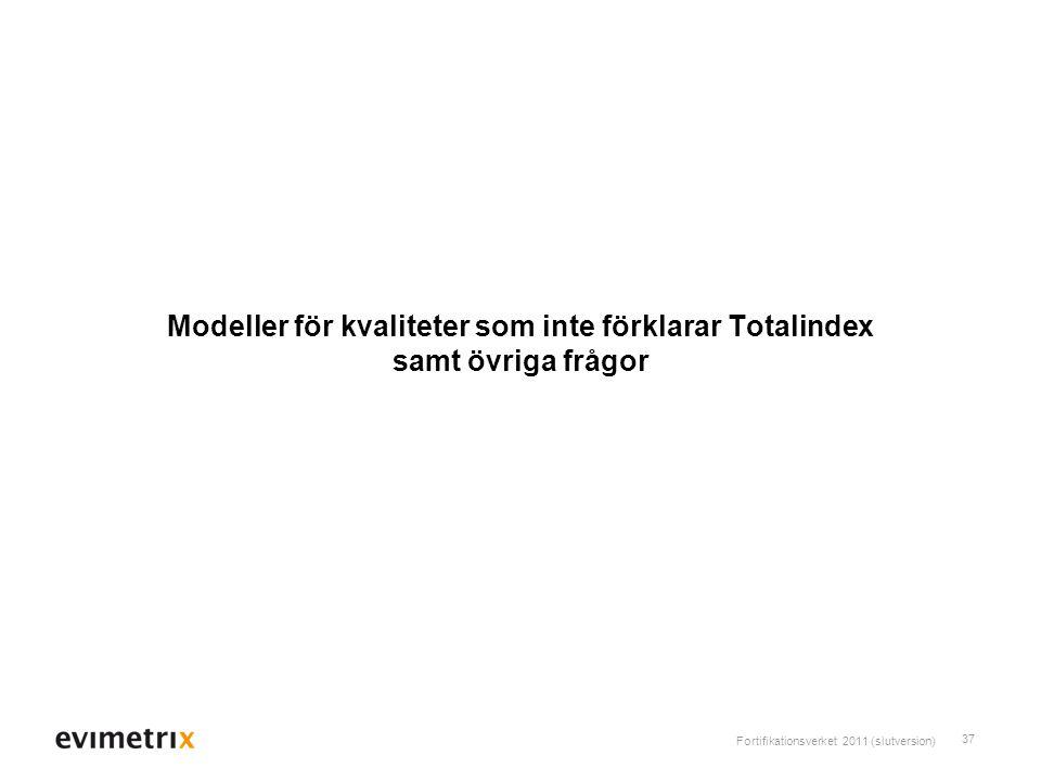 Fortifikationsverket 2011 (slutversion) 37 Modeller för kvaliteter som inte förklarar Totalindex samt övriga frågor