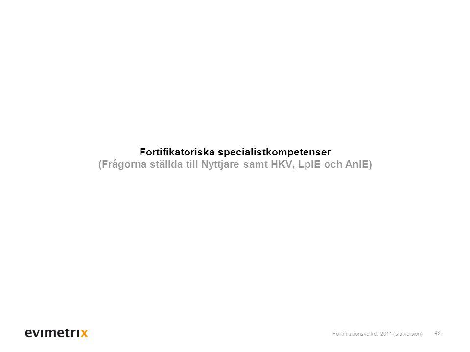 Fortifikationsverket 2011 (slutversion) 48 Fortifikatoriska specialistkompetenser (Frågorna ställda till Nyttjare samt HKV, LplE och AnlE)