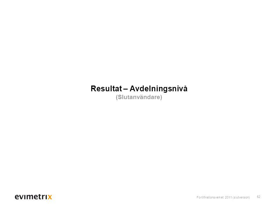 Fortifikationsverket 2011 (slutversion) 52 Resultat – Avdelningsnivå (Slutanvändare)