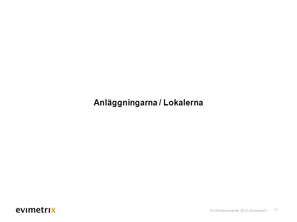 Fortifikationsverket 2011 (slutversion) 71 Anläggningarna / Lokalerna