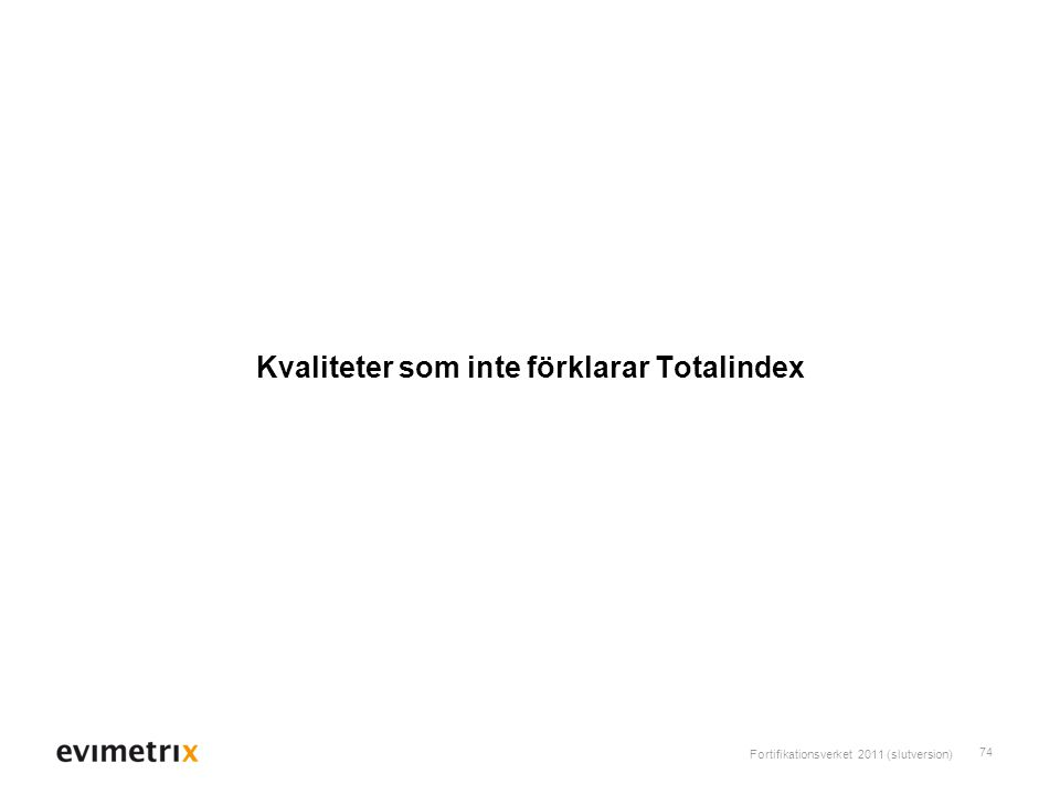 Fortifikationsverket 2011 (slutversion) 74 Kvaliteter som inte förklarar Totalindex
