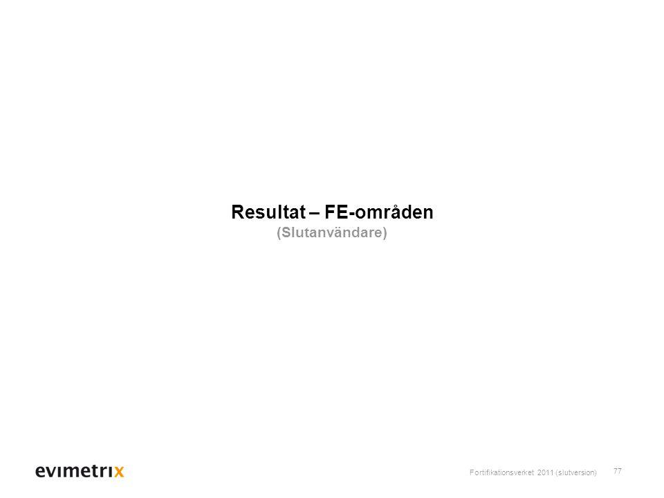 Fortifikationsverket 2011 (slutversion) 77 Resultat – FE-områden (Slutanvändare)