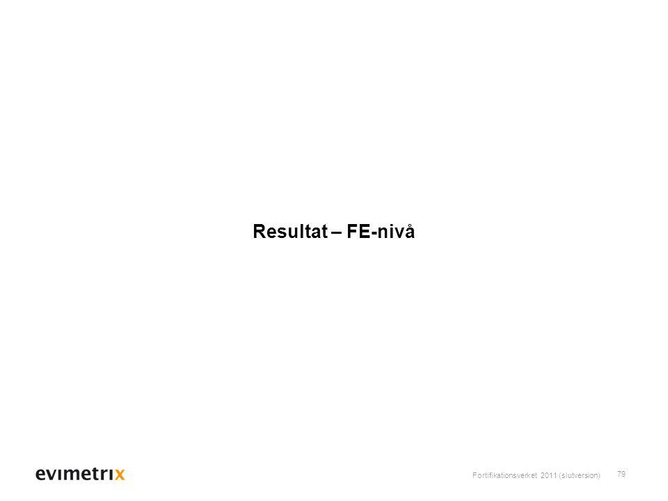 Fortifikationsverket 2011 (slutversion) 79 Resultat – FE-nivå