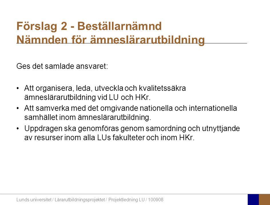 Lunds universitet / Lärarutbildningsprojektet / Projektledning LU / 100908 Förslag 2 - Beställarnämnd Nämnden för ämneslärarutbildning Ges det samlade