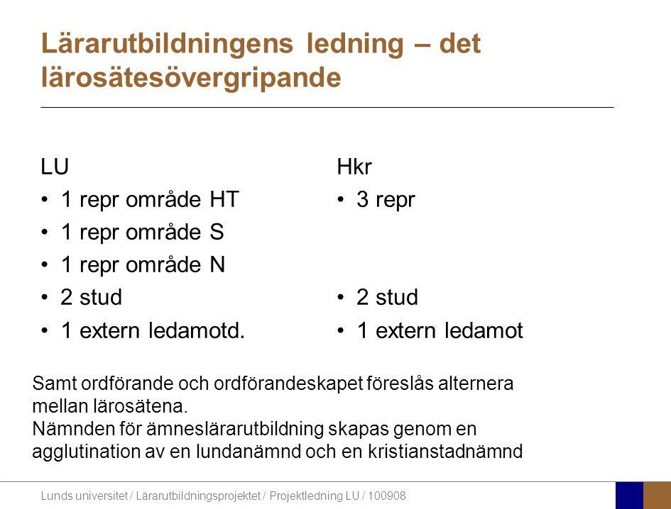 Lunds universitet / Lärarutbildningsprojektet / Projektledning LU / 100908 Lärarutbildningens ledning – det lärosätesövergripande LU •1 repr område HT