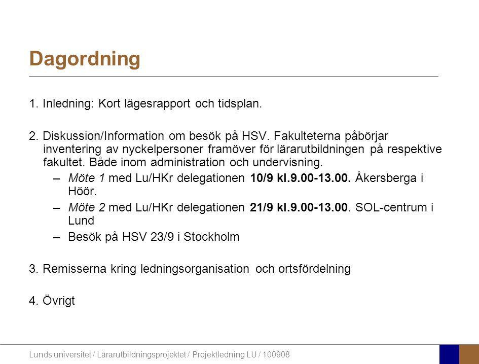 Lunds universitet / Lärarutbildningsprojektet / Projektledning LU / 100908 Dagordning 1. Inledning: Kort lägesrapport och tidsplan. 2. Diskussion/Info