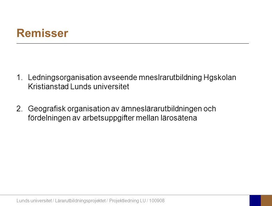 Lunds universitet / Lärarutbildningsprojektet / Projektledning LU / 100908 Remisser 1.Ledningsorganisation avseende mneslrarutbildning Hgskolan Kristi