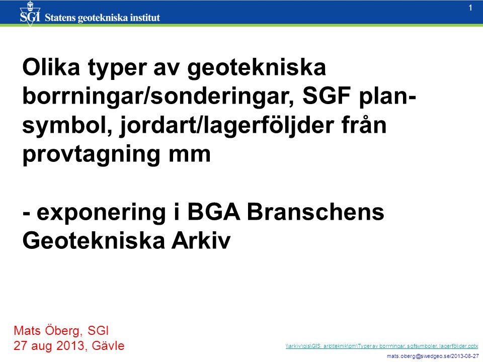 1 mats.oberg@swedgeo.se/2013-08-27 1 Olika typer av geotekniska borrningar/sonderingar, SGF plan- symbol, jordart/lagerföljder från provtagning mm - exponering i BGA Branschens Geotekniska Arkiv Mats Öberg, SGI 27 aug 2013, Gävle \\arkiv\gis\GIS_arb\teknik\pm\Typer av borrningar, sgfsymboler, lagerföljder.pptx