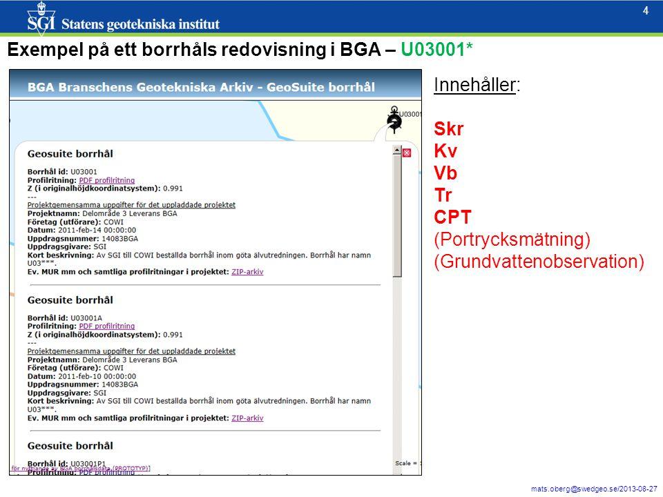 4 mats.oberg@swedgeo.se/2013-08-27 4 Exempel på ett borrhåls redovisning i BGA – U03001* Innehåller: Skr Kv Vb Tr CPT (Portrycksmätning) (Grundvattenobservation)