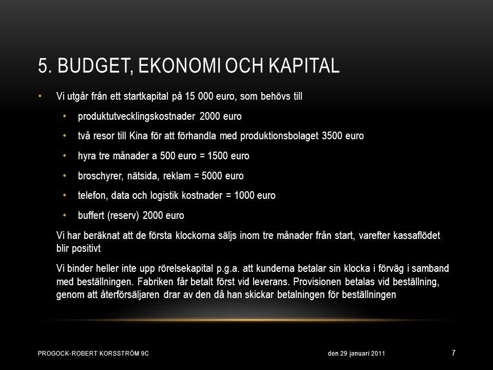 5. BUDGET, EKONOMI OCH KAPITAL • Vi utgår från ett startkapital på 15 000 euro, som behövs till • produktutvecklingskostnader 2000 euro • två resor ti