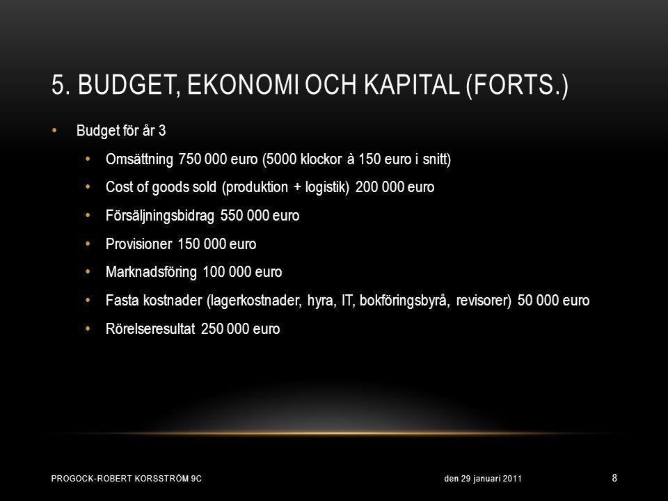 5. BUDGET, EKONOMI OCH KAPITAL (FORTS.) den 29 januari 2011PROGOCK-ROBERT KORSSTRÖM 9C 8 • Budget för år 3 • Omsättning 750 000 euro (5000 klockor à 1