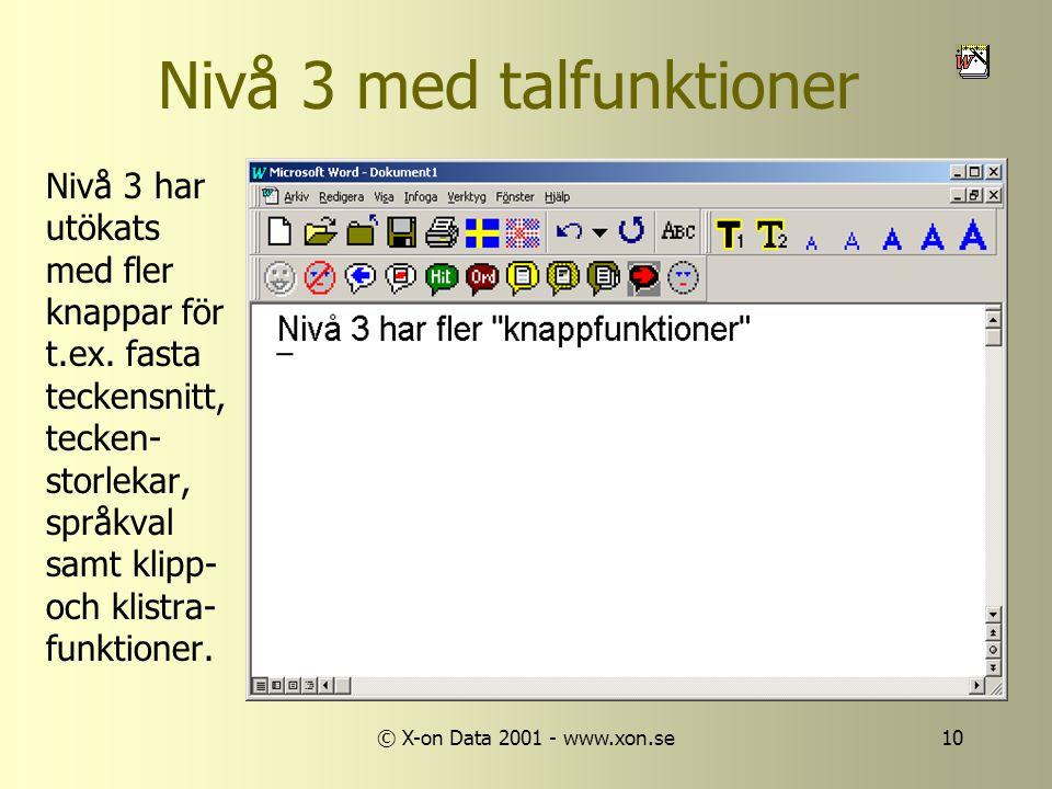 © X-on Data 2001 - www.xon.se10 Nivå 3 med talfunktioner Nivå 3 har utökats med fler knappar för t.ex.