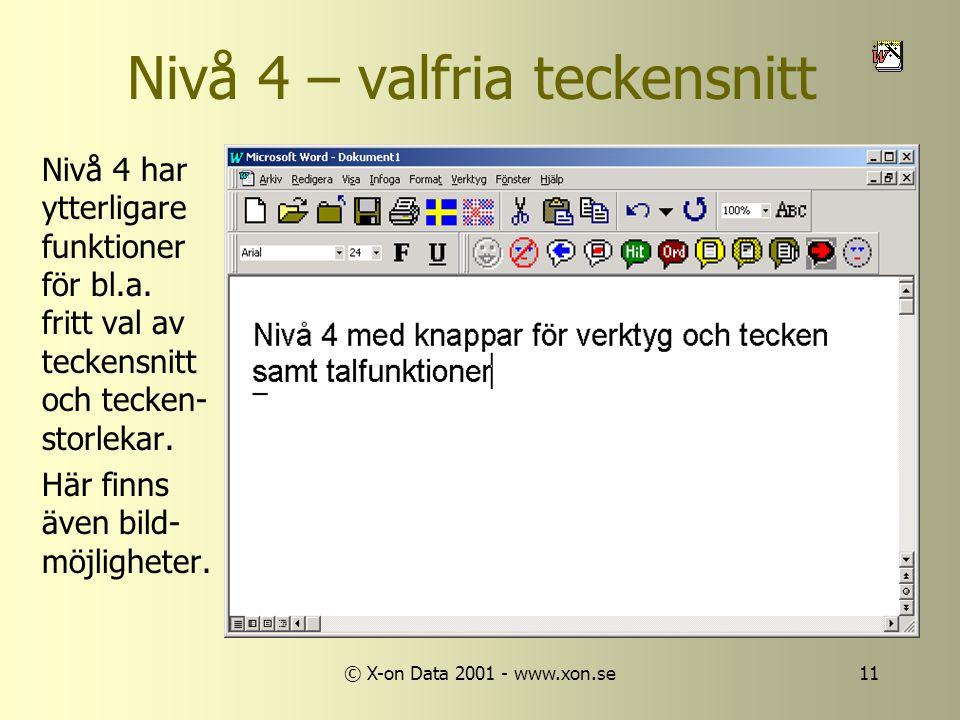 © X-on Data 2001 - www.xon.se11 Nivå 4 – valfria teckensnitt Nivå 4 har ytterligare funktioner för bl.a.