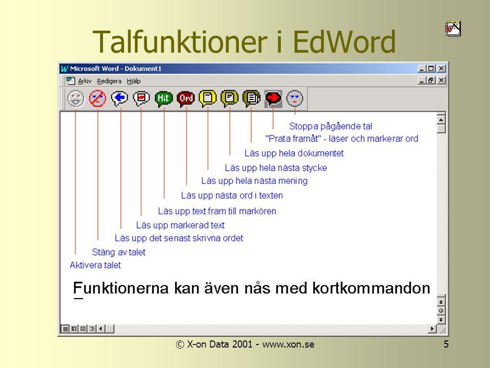 © X-on Data 2001 - www.xon.se5 Talfunktioner i EdWord