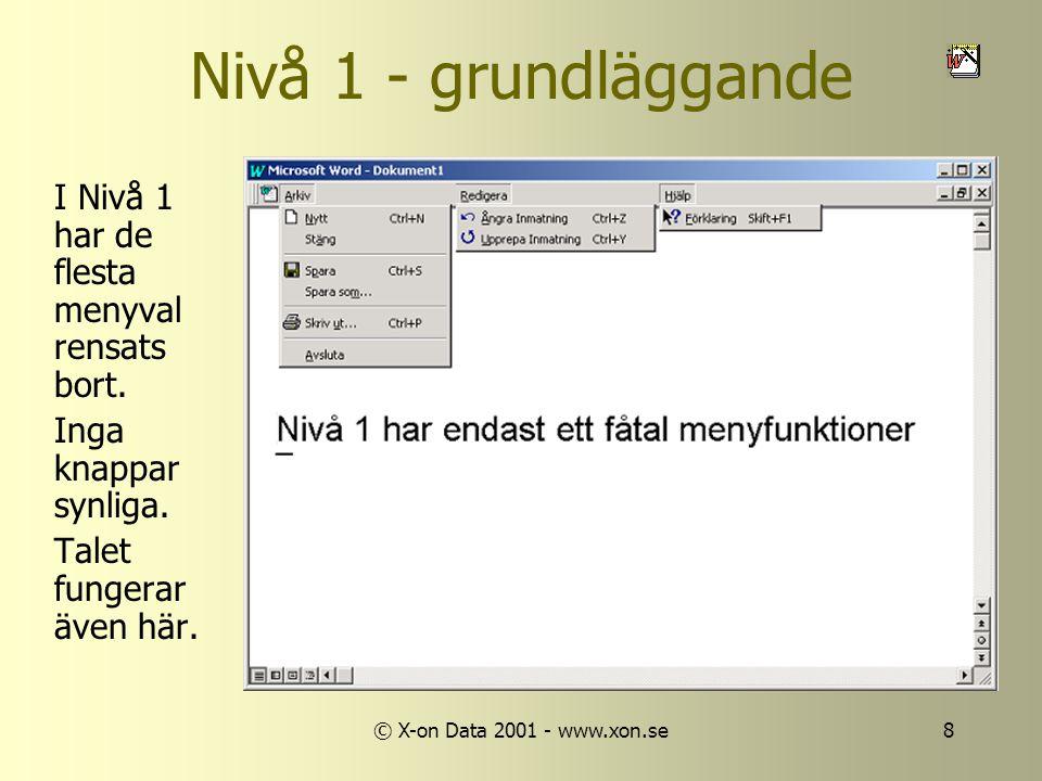 © X-on Data 2001 - www.xon.se8 Nivå 1 - grundläggande I Nivå 1 har de flesta menyval rensats bort.