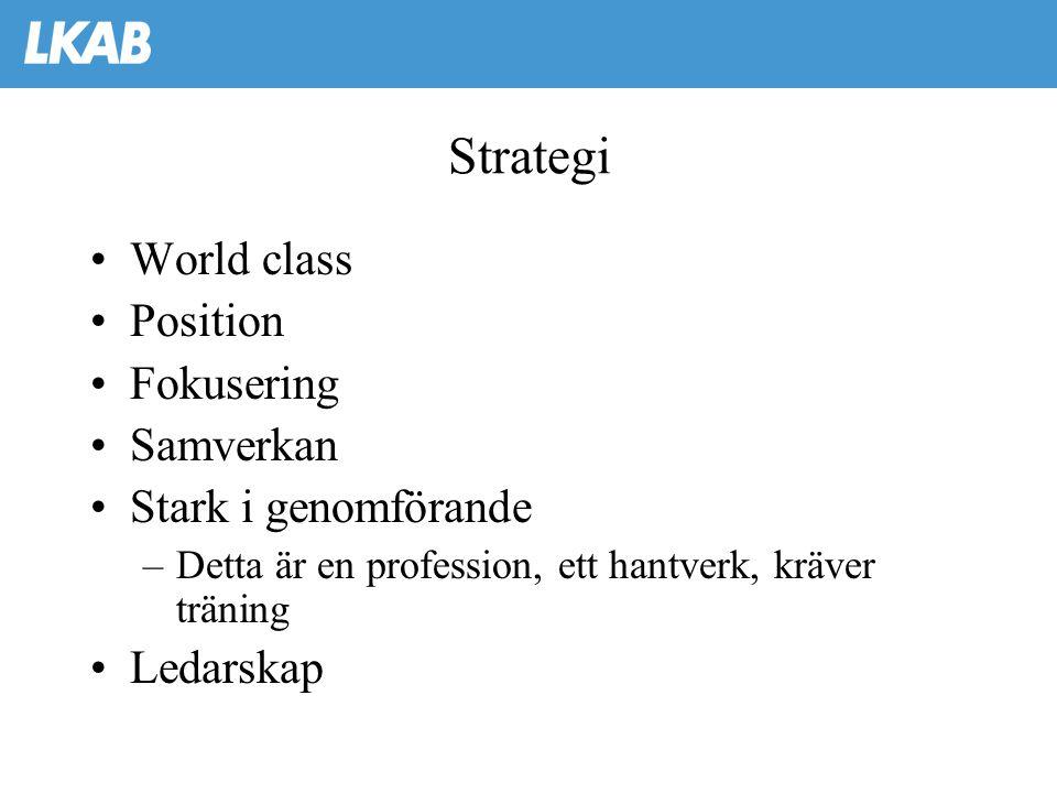 Strategi •World class •Position •Fokusering •Samverkan •Stark i genomförande –Detta är en profession, ett hantverk, kräver träning •Ledarskap