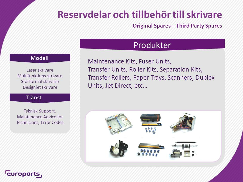 Reservdelar och tillbehör till skrivare Original Spares – Third Party Spares Modell Produkter Tjänst Laser skrivare Multifunktions skrivare Storformat skrivare Designjet skrivare Maintenance Kits, Fuser Units, Transfer Units, Roller Kits, Separation Kits, Transfer Rollers, Paper Trays, Scanners, Dublex Units, Jet Direct, etc… Teknisk Support, Maintenance Advice for Technicians, Error Codes