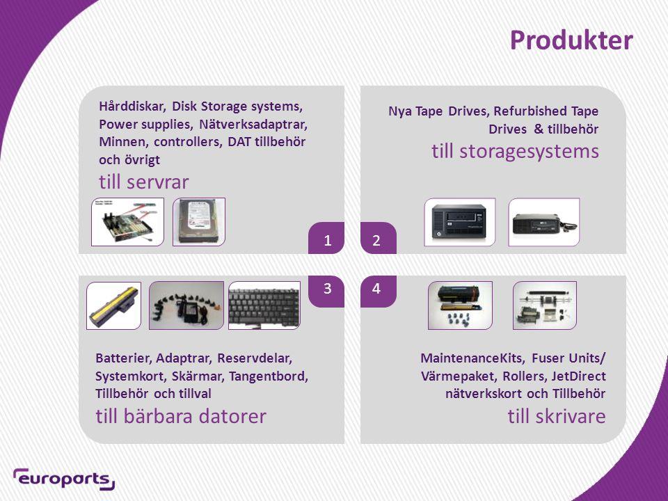 Produkter Hårddiskar, Disk Storage systems, Power supplies, Nätverksadaptrar, Minnen, controllers, DAT tillbehör och övrigt till servrar Batterier, Adaptrar, Reservdelar, Systemkort, Skärmar, Tangentbord, Tillbehör och tillval till bärbara datorer 12 3 4 MaintenanceKits, Fuser Units/ Värmepaket, Rollers, JetDirect nätverkskort och Tillbehör till skrivare Nya Tape Drives, Refurbished Tape Drives & tillbehör till storagesystems